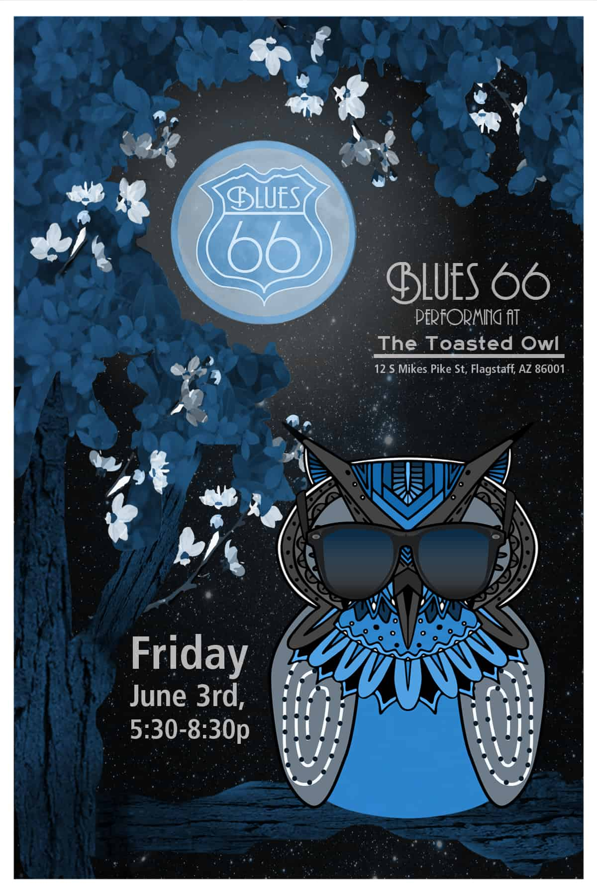 Blues 66 Postcard Toasted Owl-June 2016 (blue)