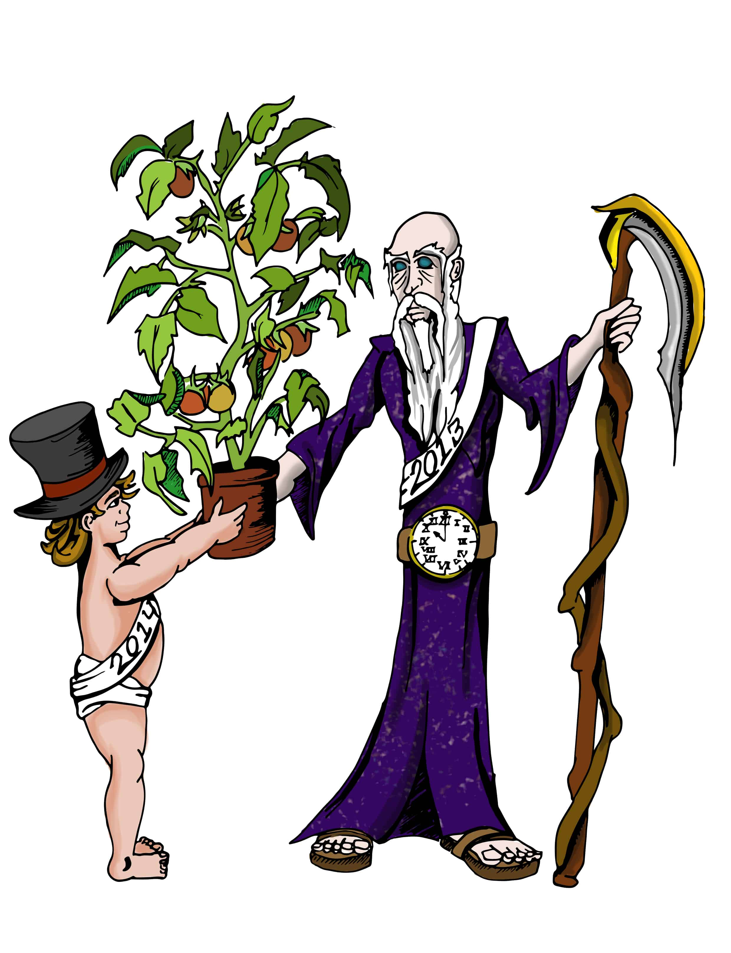 Father Time and Baby Tomato Color