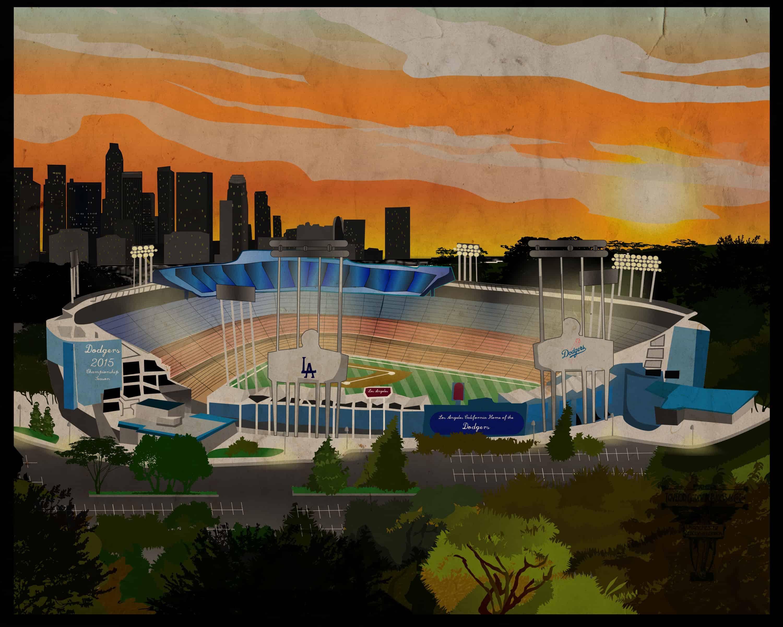 LA Dodgers Skyline Distressed